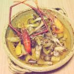 テナガエビと3種キノコのアヒージョ