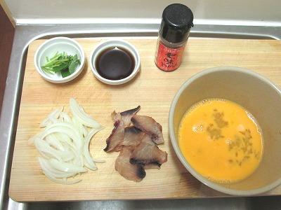 玉子丼材料一式準備